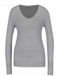 Světle šedý lehký svetr s véčkovým výstřihem Haily´s Lara