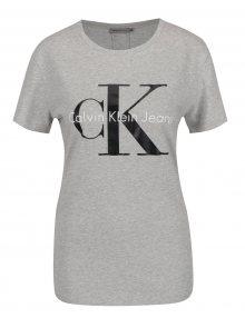 Světle šedé dámské tričko Calvin Klein Jeans Shrunken