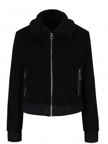 Černá bunda z umělého kožíšku Miss Selfridge