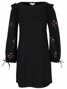 Černé šaty s výšivkami na rukávech Miss Selfridge