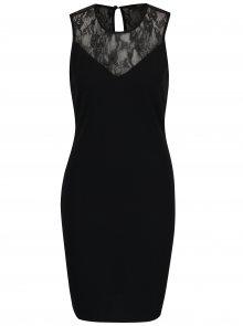 Černé pouzdrové šaty s krajkovým dekoltem VERO MODA Kaima