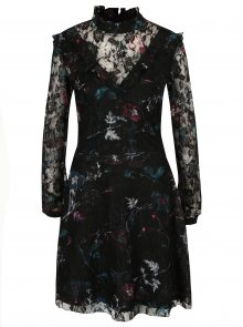 Černé krajkové květované šaty s dlouhým rukávem Garcia Jeans