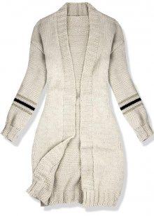 Béžový svetr s proužky na rukávech