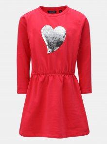 Tmavě růžové holčičí šaty s flitry Blue Seven