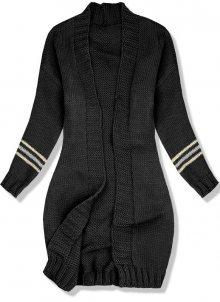 Černý svetr s proužky na rukávech