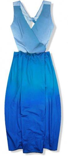 Modré ombré maxi šaty