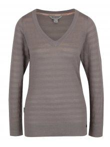 Šedý dámský lehký svetr s véčkovým výstřihem BUSHMAN Samsula