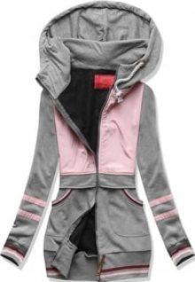 MODOVO Dlouhá dámská mikina s kapucí D425 šedá