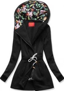 MODOVO Dlouhá dámská mikina s kapucí D542 černá