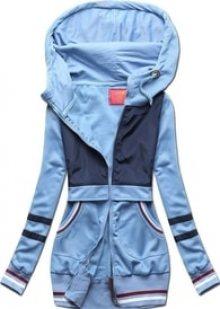 MODOVO Dlouhá dámská mikina s kapucí D425 modrá