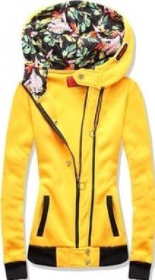 MODOVO Dámská mikina s kapucí D527 žlutá