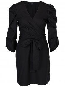 Černé šaty s překládaným výstřihem a nařasenými rukávy Miss Selfridge