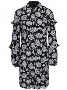 Krémovo-černé květované košilové šaty Miss Selfridge