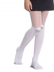 Růžovo-bílé holčičí punčocháče s kočičím motivem Penti Muhur 30 DEN
