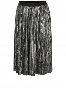 Plisovaná lesklá sukně ve stříbrné barvě s jemným vzorem Mela London