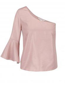 Světle růžový crop top na jedno rameno Miss Selfridge