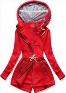 MODOVO Dlouhá dámská mikina s kapucí D545 červená