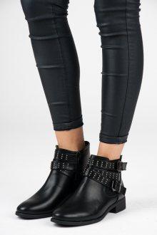 Skvělé černé kotníkové boty s přezkami