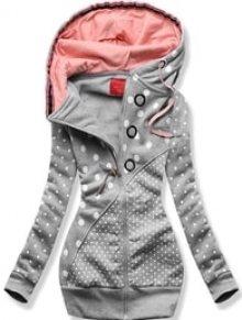 MODOVO Dlouhá dámská mikina s kapucí D539 šedá