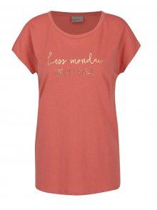 Růžové tričko s potiskem VERO MODA Nora