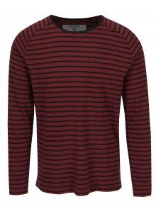 Vínové pruhované pánské tričko s dlouhým rukávem Garcia Jeans