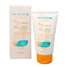 Avon Hydratační voděodolné pleťové mléko na opalování SPF 50 SUN+ (Moisturising Sun Lotion) 50 ml - SLEVA - pomačkaná krabička