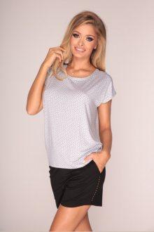 Dámské kraťasové pyžamo De Lafense 314 - barva:DELBLWH/černá-bílá  , velikost:L