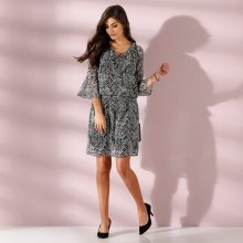 Blancheporte Voálové šaty s potiskem černá/bílá 48