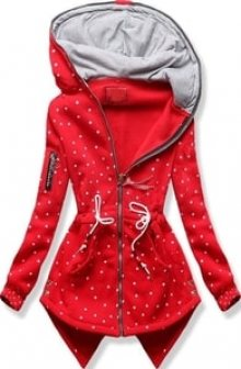 MODOVO Dlouhá dámská mikina s kapucí D537 červená