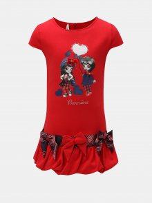 Červené šaty s potiskem a mašlemi North Pole Kids