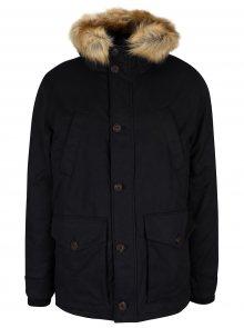Černá bunda s kapucí a umělou kožešinou Burton Menswear London