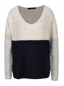 Tmavě modrý žíhaný svetr s příměsí vlny VERO MODA Fortuna