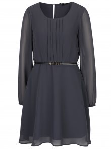 Tmavě šedé šaty s páskem VERO MODA Adele