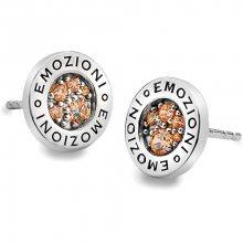 Hot Diamonds Sříbrné náušnice Emozioni Scintilla Champagne EE001
