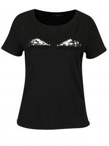 Černé tričko s motivem zavřených očí VERO MODA Eye