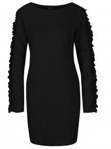 Černé šaty s volánky na rukávech VILA Tinny