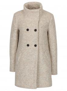 Krémový žíhaný kabát s příměsí vlny ONLY New Sophia
