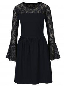 Tmavě modré šaty s dlouhým rukávem a krajkou ONLY Niella
