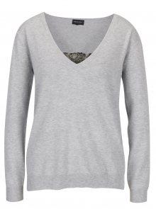 Světle šedý dámský svetr s véčkovým výstřihem Broadway Neka