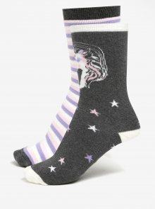 Sada dvou párů šedo-krémových protiskluzových ponožek Dorothy Perkins