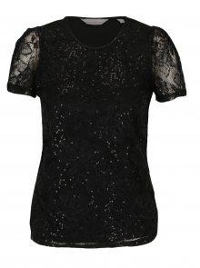 Černé krajkové tričko s flitry Dorothy Perkins Petite