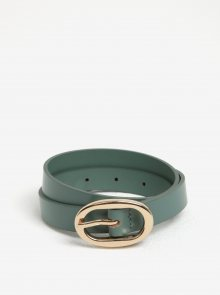 Zelený kožený pásek s oválnou sponou Pieces Ana