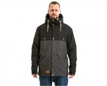 Meatfly Pánská bunda Dandy Jacket MNS Parka A - Black/Charcoal Heather M