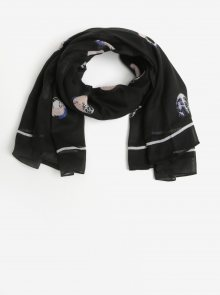 Černý vzorovaný žíhaný šátek Pieces Amisty