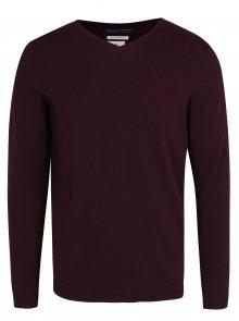 Vínový lehký svetr s véčkovým výstřihem Jack & Jones Luke Premium