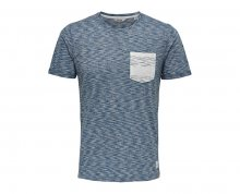 ONLY&SONS Pánské triko Dart Pocket Fitted Tee Medium Blue Melange M