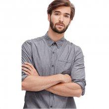 s.Oliver Pánská šedá košile s jemným proužkem Regular Fit M