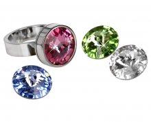 Levien Ocelový prsten Change & Go se 3 krystaly na výměnu 50 mm