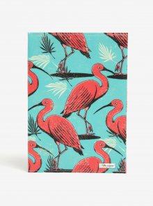 Růžovo-tyrkysový zápisník s motivem plameňáků I Like Paper A5