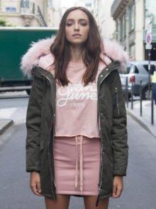 Parka Khaki Pink Faux Fur Hoodie M
